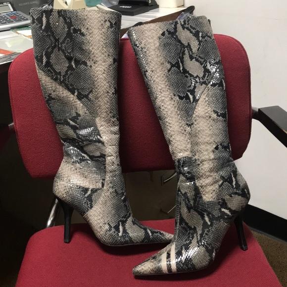 Nine West Snake Skin Print Zip Up Boots